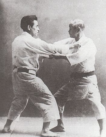 Japanese judoka ,Jigoro Kano(right) and Kyuzo ...